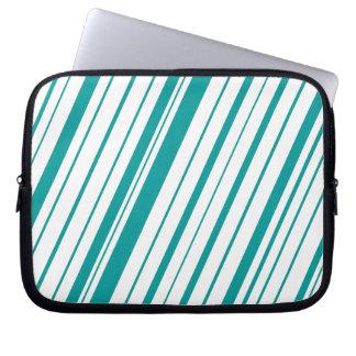 Diagonal Stripe ~ Teal Laptop Sleeve