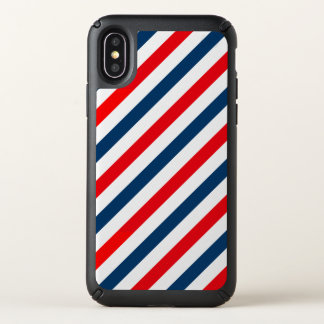 Diagonal Stripe Tricolor Red, Blue and White Speck iPhone X Case