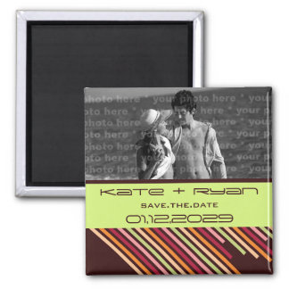 Diagonal Stripes   01 * Save The Date Photo Magnet