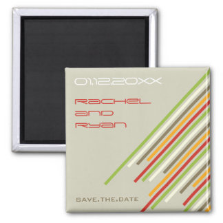 Diagonal Stripes   04 * Summer Fresh   Save Date Fridge Magnets