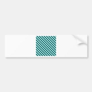 Diagonal Stripes 2 - Celeste and Deep Jungle Green Car Bumper Sticker