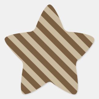 Diagonal Stripes 2 - Khaki and Dark Brown Sticker