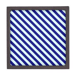 Diagonal Stripes 2 - Pale Blue and Navy Blue Premium Gift Box