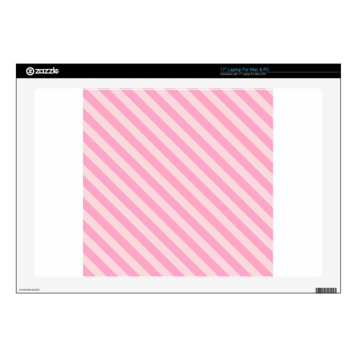 """Diagonal Stripes 2 - Pale Pink and Carnation Pink 17"""" Laptop Decals"""