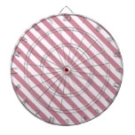 Diagonal Stripes 2 - Pink Lace and Puce Dartboard With Darts