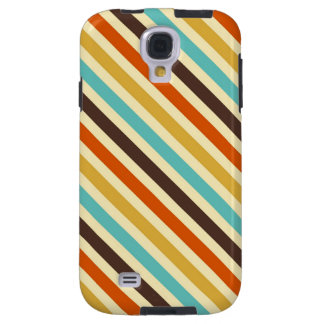 Diagonal Stripes 4 Retro Colors Blue Yellow Red Galaxy S4 Case