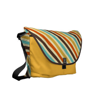 Diagonal Stripes 4 Retro Colors Blue Yellow Red Messenger Bags