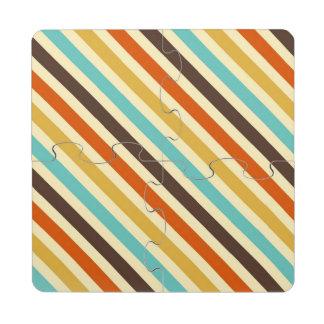 Diagonal Stripes 4 Retro Colors Blue Yellow Red Puzzle Coaster