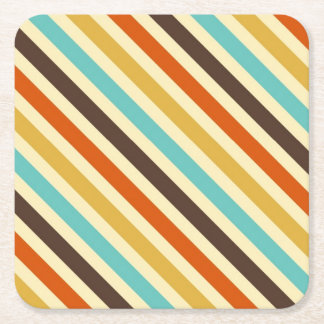 Diagonal Stripes 4 Retro Colors Blue Yellow Red Square Paper Coaster