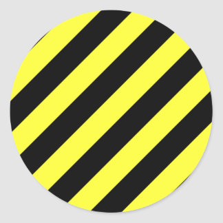 diagonal stripes black and yellow classic round sticker