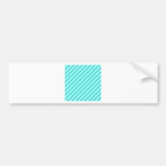 Diagonal Stripes - Cyan - Celeste and Turquoise Car Bumper Sticker