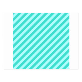 Diagonal Stripes - Cyan - Celeste and Turquoise Postcard