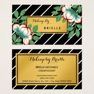 Diagonal Stripes Floral Faux Gold Makeup Artist Business Card