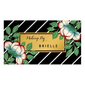 Diagonal Stripes Floral Faux Gold Makeup Artist Double-Sided Standard Business Cards (Pack Of 100)