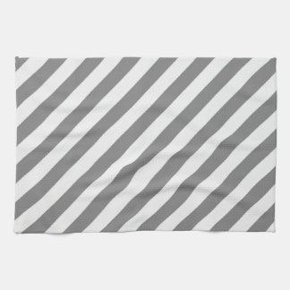 Diagonal Stripes - Gray and Light Gray Kitchen Towel
