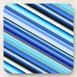 [ Thumbnail: Diagonal Stripes in Blues and Teals Coaster ]