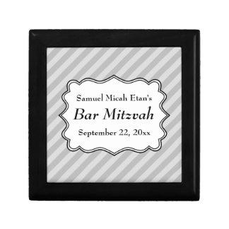 Diagonal Stripes in Gray Bar Mitzvah Jewelry Box