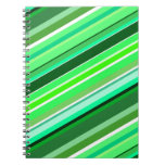 [ Thumbnail: Diagonal Stripes in Greens and Teals Notebook ]