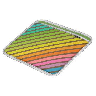 Diagonal Stripes in Rainbow 1 Choco iPad Sleeve