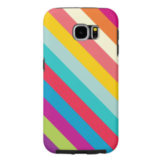Diagonal Stripes In Summer Colors Samsung Galaxy S6 Cases