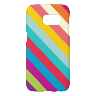 Diagonal Stripes In Summer Colors Samsung Galaxy S7 Case