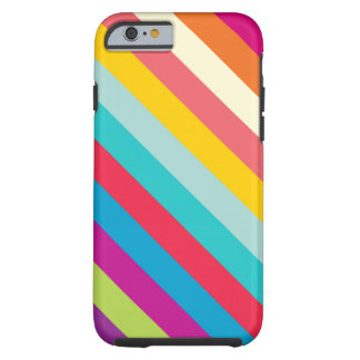 Diagonal Stripes In Summer Colors Tough iPhone 6 Case
