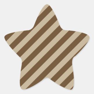 Diagonal Stripes - Khaki and Dark Brown Sticker