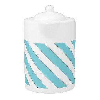diagonal stripes light blue teapot