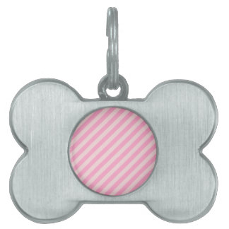 Diagonal Stripes - Pale Pink and Carnation Pink Pet ID Tags
