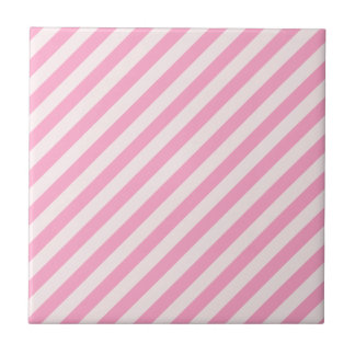 Diagonal Stripes - Pale Pink and Carnation Pink Tile
