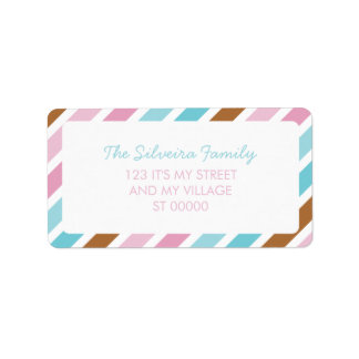 Diagonal Stripes Pattern Blue Pink Brown Striped Label