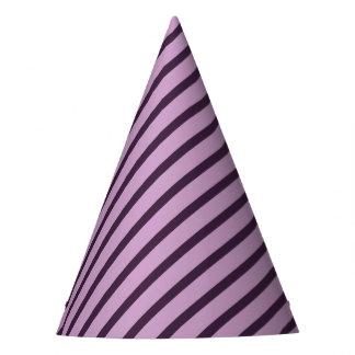 Diagonal stripes pattern dark purple line party hat