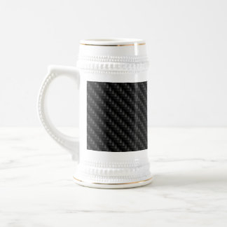 Diagonal Tightly Woven Carbon Fiber Texture Beer Stein