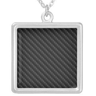 Diagonal Tightly Woven Carbon Fiber Texture Square Pendant Necklace