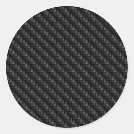 Diagonal Tightly Woven Carbon Fiber Texture Classic Round Sticker