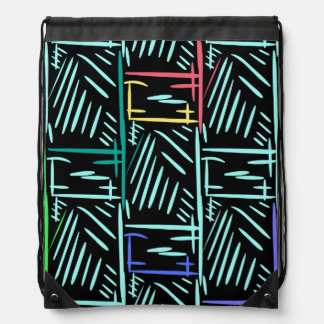 Diagonal Turquoise Slashes Memphis Abstract Drawstring Backpack