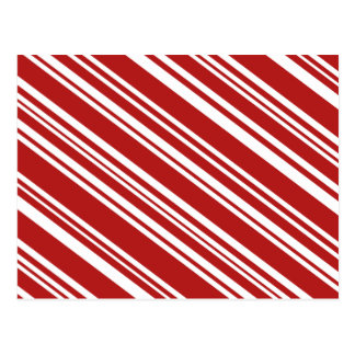 Diagonal Varied Red and White Stripes Postcard
