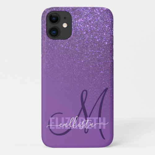 Diagonal Violet Purple Glitter Gradient Monogram Phone Case