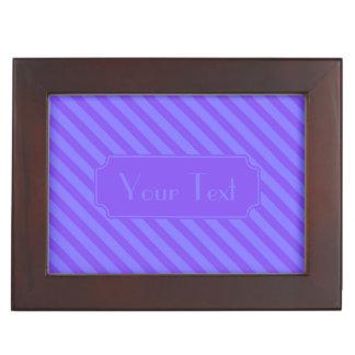 Diagonal Violet Purple Stripes Memory Box
