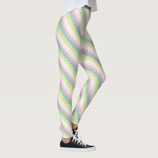 Diagonal wavy lines in pretty pastel colored leggings