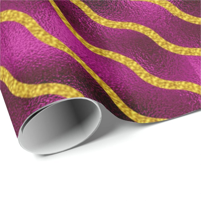 Diagonal Wavy Stripe Gold on Fuschia ID365