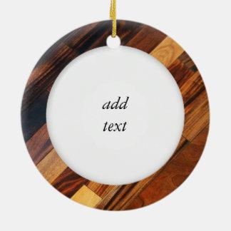 Diagonal Wood Flooring Image Ceramic Ornament