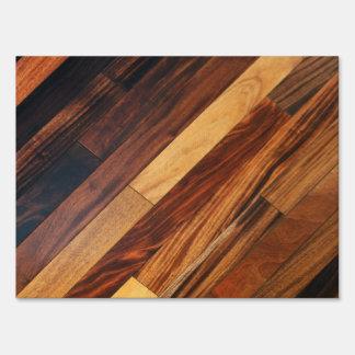 Diagonal Wood Flooring Image Lawn Sign