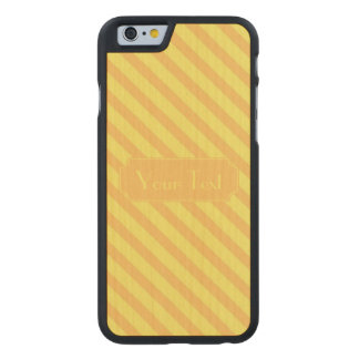Diagonal yellow orange Stripes customize text Carved® Maple iPhone 6 Slim Case