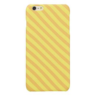 Diagonal yellow orange Stripes Glossy iPhone 6 Plus Case