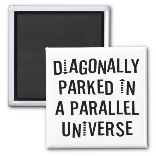 Diagonally Parked 2 Inch Square Magnet