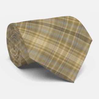 Diagonally striped straw colored plaid neck tie
