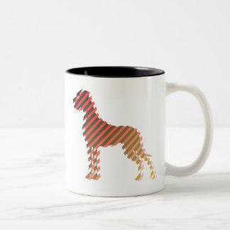 Diagonalstreifendogge Two-Tone Coffee Mug