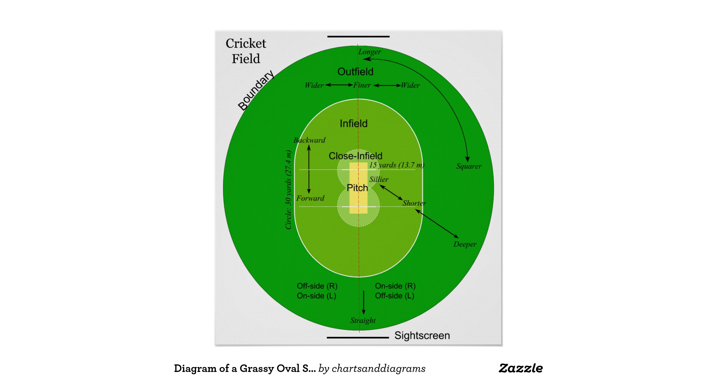 Diagram Of A Grassy Oval Shaped Cricket Field Poster