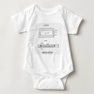 Diagram of a ventilator showing plan and elevation baby bodysuit